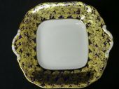 Aynsley serving plate Navy & gold